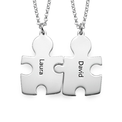 Puzzle Necklaces for Couple's in Sterling Silver - 1