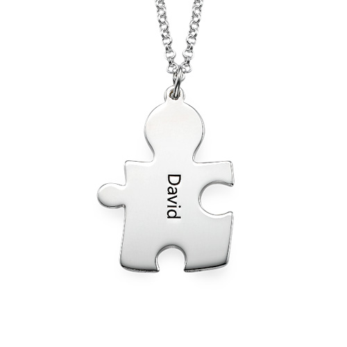 Puzzle Necklaces for Couple's in Sterling Silver - 2