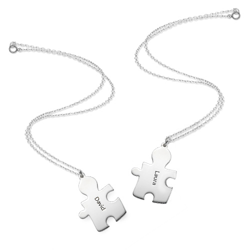 Puzzle Necklaces for Couple's in Sterling Silver - 3