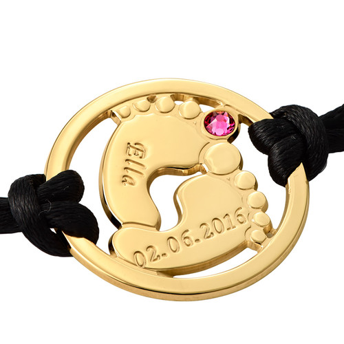 Cut Out Baby Feet Bracelet with Gold Plating - 1