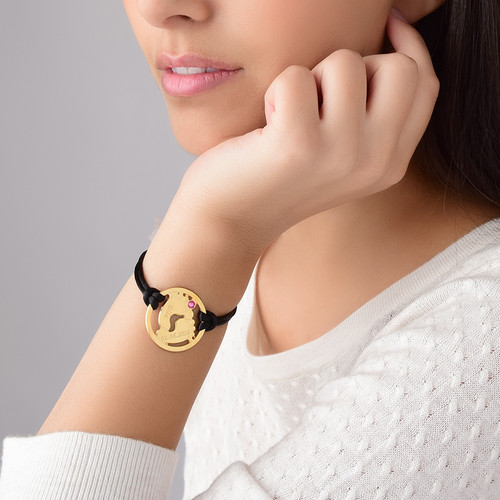 Cut Out Baby Feet Bracelet with Gold Plating - 3