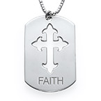 Cut-Out Cross Dog Tag Necklace in Silver