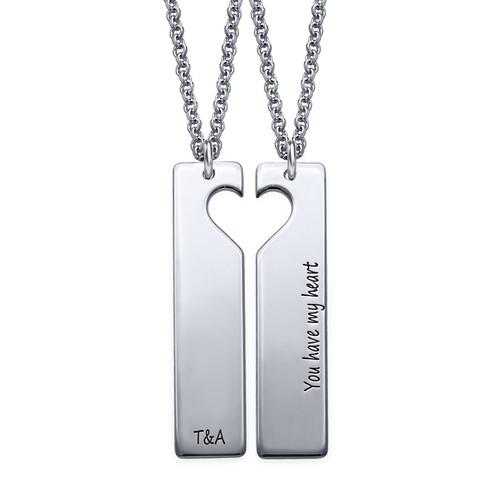 Cut Out Heart Bar Necklace Set - 1