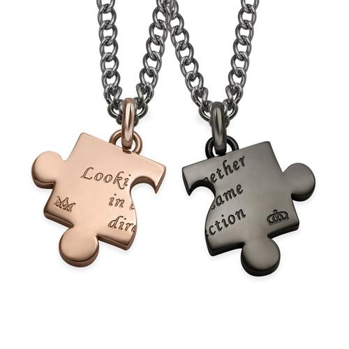 Cut Out Heart Puzzle Necklace Set