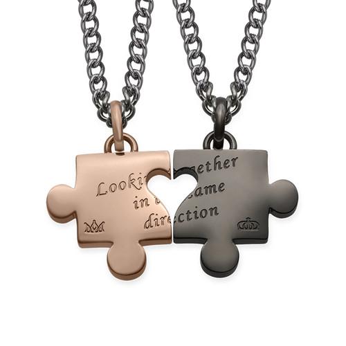 Cut Out Heart Puzzle Necklace Set - 1