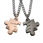 Cut Out Heart Puzzle Necklace Set