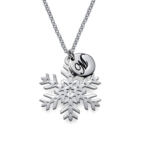 Cut Out Snowflake Necklace with Initial Pendant