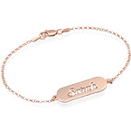 Cut out Name Bracelet in Rose Gold Plating