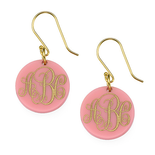 Dangling Acrylic Monogram Earrings - 1