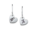 Dangling Heart Earrings with Initial
