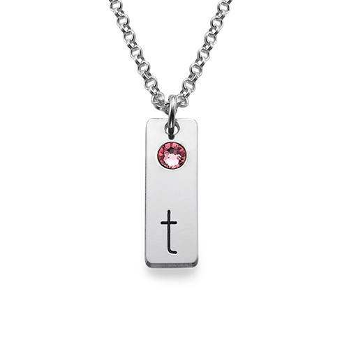 Delicate Initial Bar Necklace with Birthstones - 1