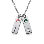 Delicate Initial Bar Necklace with Birthstones