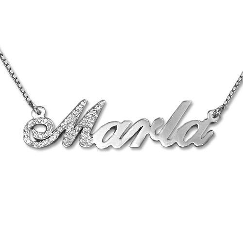 Diamond Capital Letter 14k White Gold Name Necklace