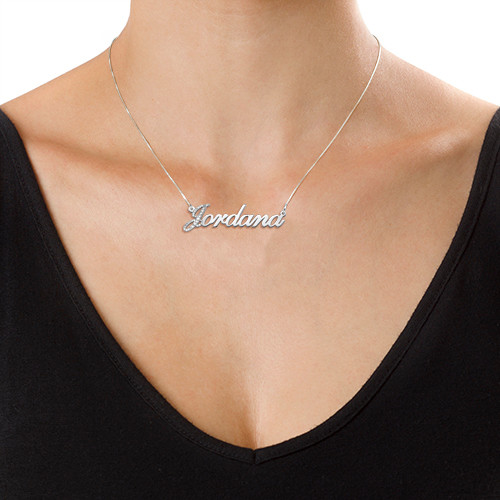 Diamond Capital Letter 14k White Gold Name Necklace - 1