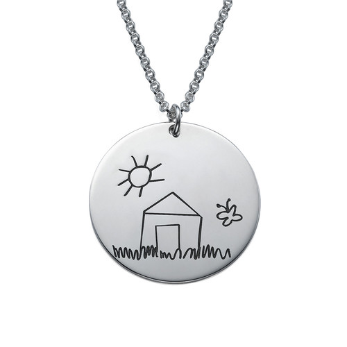 Disc Necklace for Moms with Kids Drawings