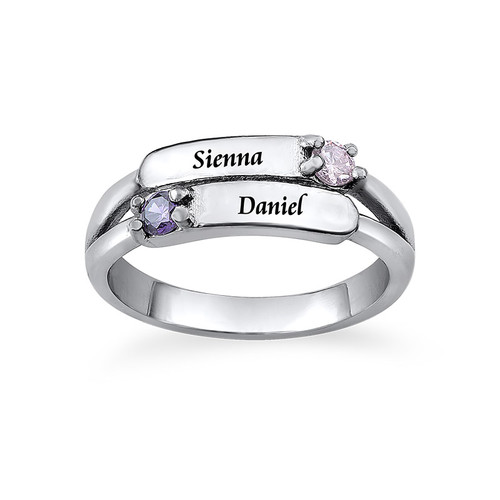 Double Birthstone Ring with Engraving - 1