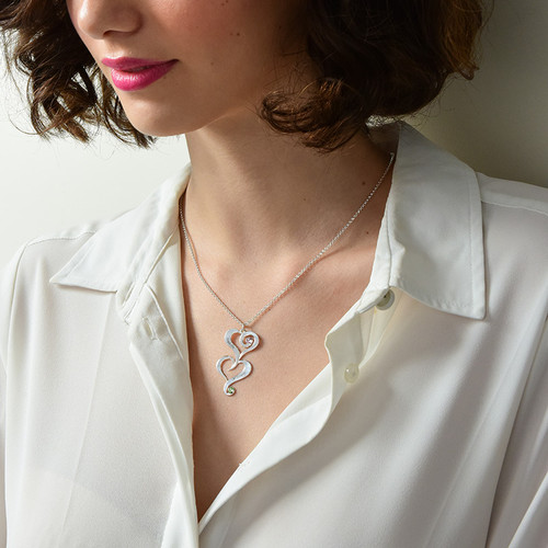 Double Heart Birthstone Necklace with Engraving - 2