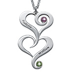 Double Heart Birthstone Necklace with Engraving