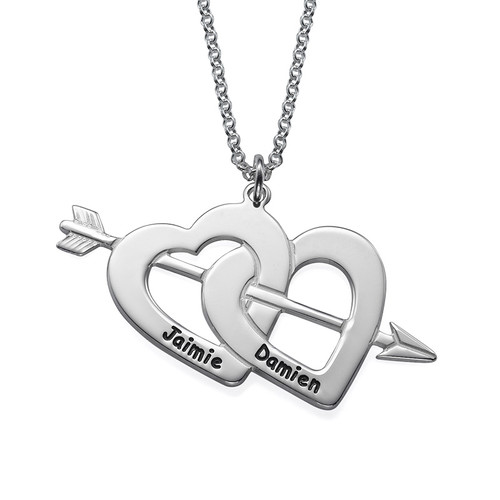 Double Heart and Arrow Necklace