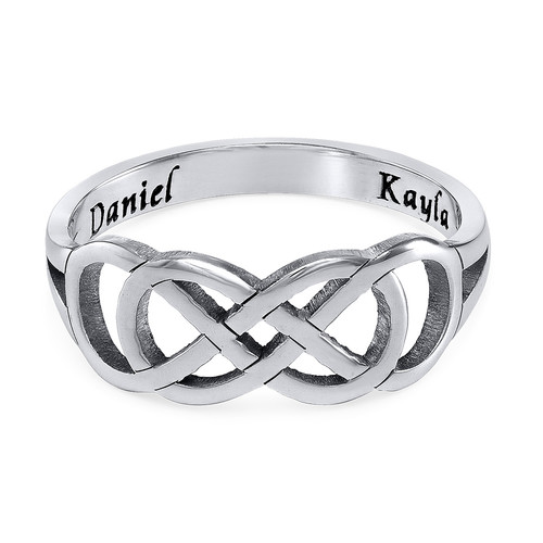 Double Infinity Ring with Inner Engraving