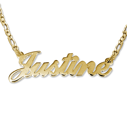 Double Thickness 18k Gold-Plated Silver Name Necklace