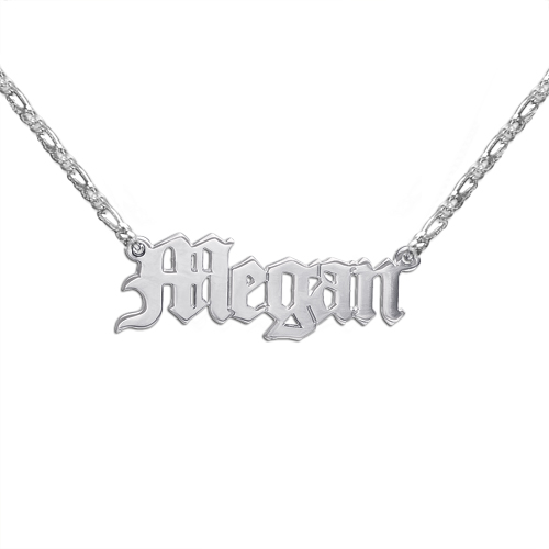 Double Thickness Old English Style Name Necklace