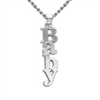 Double Thickness Sterling Silver Print Name Necklace