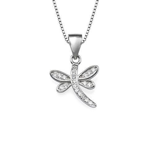 Dragonfly Pendant Necklace with Cubic Zirconia