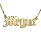 Durable 14k Gold Old English Style Necklace with Name