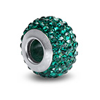 Emerald Birthstone Bead with Cubic Zirconia