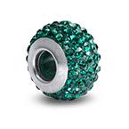 Emerald Birthstone Bead with Cubic Zirconia