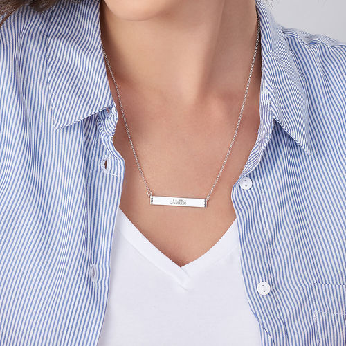 Engravable Bar Necklace with Cubic Zirconia in Sterling Silver - 2