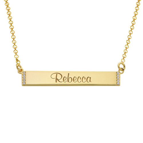 Engravable Bar Necklace with Cubic Zirconia with 18K Gold Plating