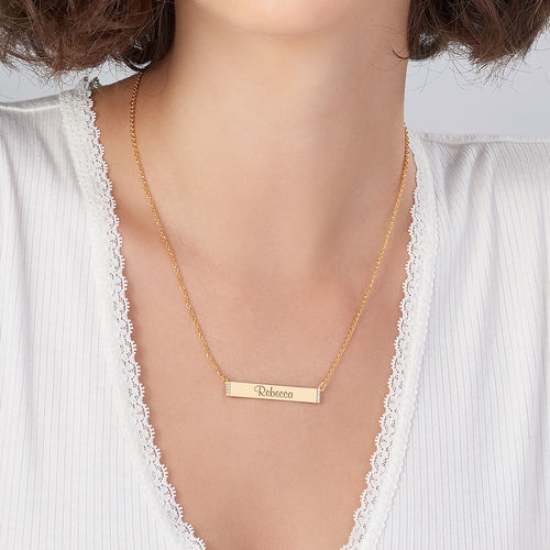Engravable Bar Necklace with Cubic Zirconia with 18K Gold Plating - 2