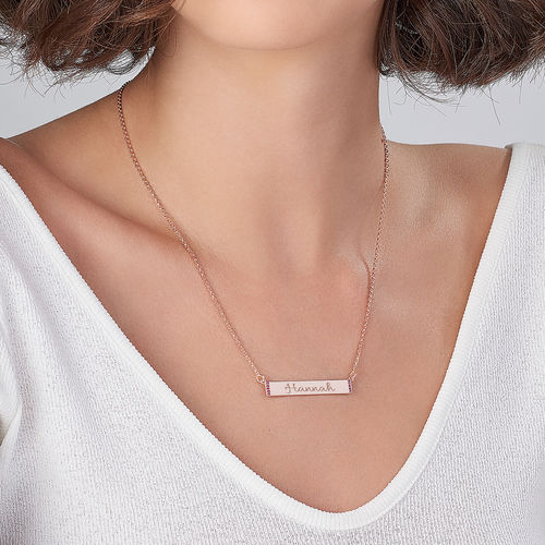 Engravable Bar Necklace with Cubic Zirconia with 18K Rose Gold Plating - 2
