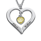 Engraved Heart Necklace with Hanging Heart Birthstone