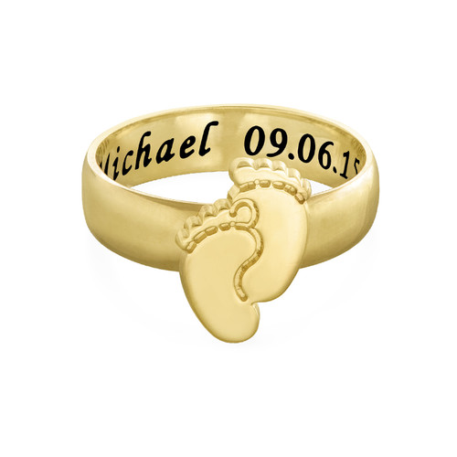 Engraved Baby Feet Ring with Gold Plating - 1