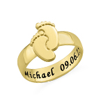 Engraved Baby Feet Ring with Gold Plating