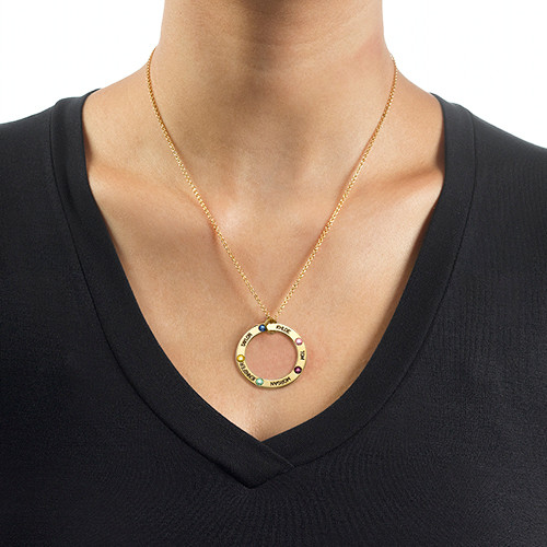 Engraved Birthstone Necklace for Mom - Gold Plated - 1