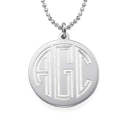 Engraved Block Monogram Necklace