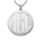 Engraved Block Monogram Necklace