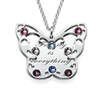 Engraved Butterfly Necklace for Moms with Birthstones