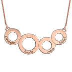 Engraved Circles Necklace with Rose Gold Plating