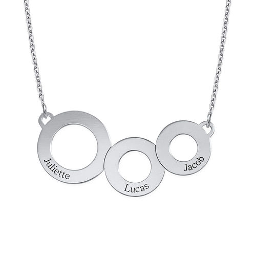Engraved Circles Necklace in Sterling Silver - 1