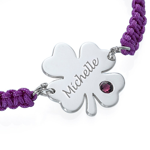 Engraved Clover Bracelet with Birthstone - 1