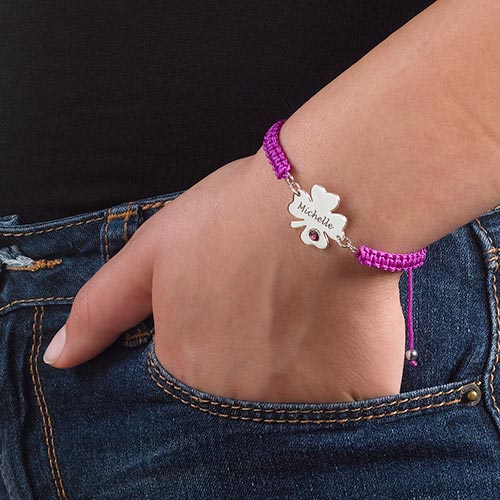 Engraved Clover Bracelet with Birthstone - 2