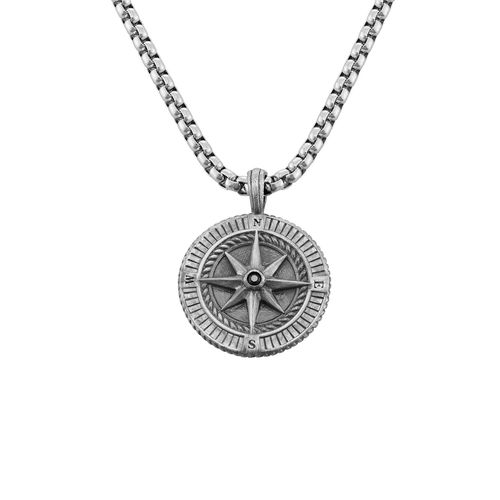 Engraved Compass Pendant Necklace for Men in Sterling Silver