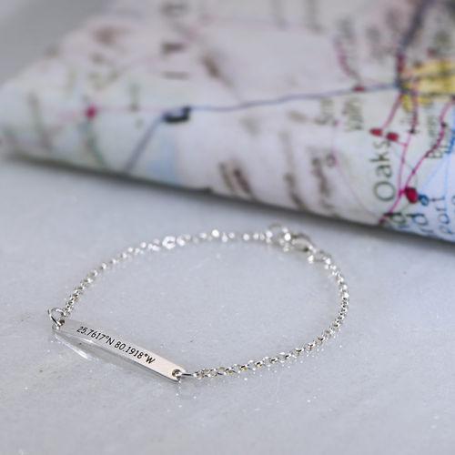 Engraved Coordinates Bracelet in Silver - 2