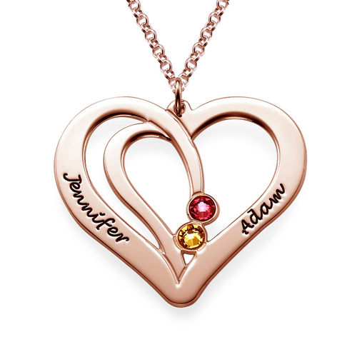 75f1cf910c Engraved Couple Birthstone Necklace - Rose Gold Plated | My Name ...
