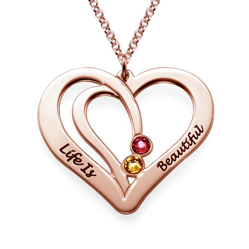 Engraved Couple Birthstone Necklace - Rose Gold Plated - 1